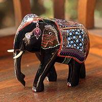 Lacquered wood figurines, 'Young Thai Elephant'