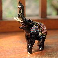 Lacquered wood figurine, 'Happy Elephant' - Artisan Crafted Wood Elephant Sculpture