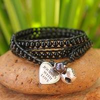 Leather and onyx wrap bracelet, 'Journey with Love' - Leather and onyx wrap bracelet