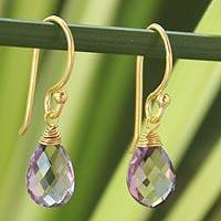 Gold vermeil amethyst dangle earrings, 'Sublime Elegance' - Artisan Crafted Vermeil Amethyst Earrings