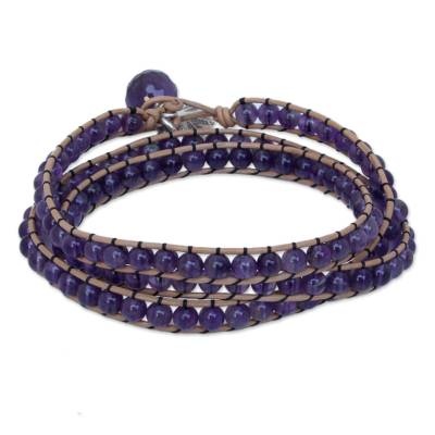 Artisan Crafted Leather and Amethyst Wrap Bracelet
