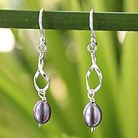Cultured pearls dangle earrings, 'Swirling Love' - Artisan Crafted Sterling Silver and Pearl Dangle Earrings