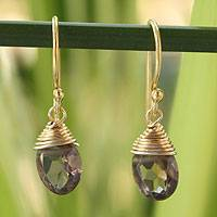 Gold vermeil smoky quartz dangle earrings, Sublime Elegance