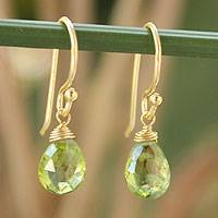 Gold vermeil peridot dangle earrings, 'Sublime Elegance' - Gold Vermeil and Peridot Earrings
