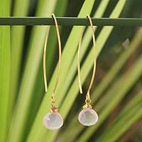 Gold vermeil rose quartz dangle earrings, 'Breath of Love' - Fair Trade Gold Vermeil and Rose Quartz Earrings