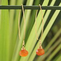 Gold vermeil carnelian dangle earrings, 'Breath of Love' - Handmade Vermeil and Carnelian Earrings