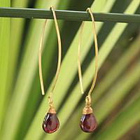 Gold vermeil garnet dangle earrings, 'Breath of Love'