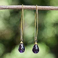 Gold vermeil amethyst dangle earrings, 'Breath of Love'