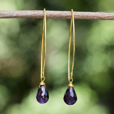 Gold vermeil amethyst dangle earrings, 'Breath of Love' - Hand Made Gold Vermeil Amethyst Dangle Earrings