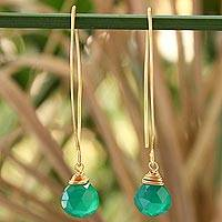 Gold vermeil dangle earrings, 'Breath of Love' - Fair Trade Modern Vermeil Chalcedony Earrings