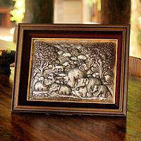 Aluminum repousse panel, 'Elephants Relaxing' - Aluminum repousse panel
