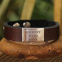 Leather and nickel wristband bracelet 'Love is a Journey' - Thai Leather and Brushed Nickel Wristband Bracelet