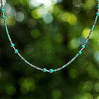 Sterling silver necklace, 'Blue Islands' - Reconstituted Turquoise Beaded Necklace