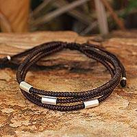 Silver accent wristband bracelet, 'Hill Tribe Friend'