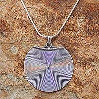 Sterling silver pendant necklace, 'Hypnotic Moon' - Handcrafted Modern Sterling Silver Pendant Necklace