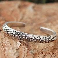 Men's silver cuff bracelet, 'Karen Hero'