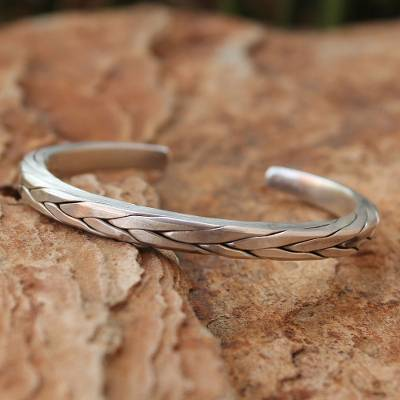 Men's silver cuff bracelet, 'Hill Tribe Braid' - Men's Handcrafted Silver Cuff Bracelet