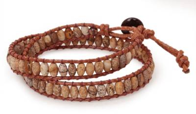 Hand Crafted Thai Leather and Jasper Beaded Bracelet