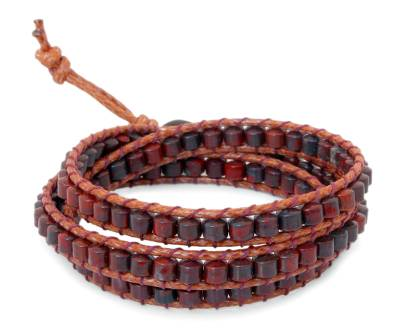 Handcrafted Leather and Jasper Beaded Bracelet