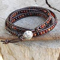 Agate wrap bracelet, 'Acorn Promise' - Collectible Thai Good Fortune Leather Beaded Agate Bracelet