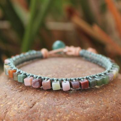 Jasper beaded bracelet, 'Cubic Pastels' - Jasper and Leather Beaded Bracelet