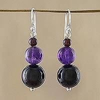 Garnet and amethyst drop earrings, 'Sweet Love' - Beaded Garnet Earrings