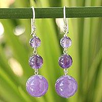 Amethyst drop earrings, 'Lilac Wisdom' - Beaded Amethyst Earrings