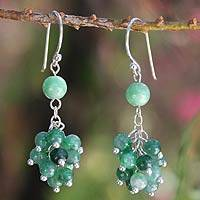 Jade cluster earrings, 'Abundance' - Jade Beaded Cluster Earrings