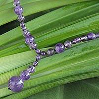 Amethyst Y necklace, 'Violet Champagne' - Fair Trade Amethyst Y Necklace