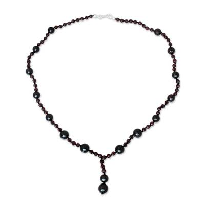 Thailand Hand Knotted Garnet Beaded Y Necklace