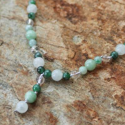 Jade and quartz Y necklace, 'Natural Beauty' - Handcrafted Beaded Jade and Quartz Necklace