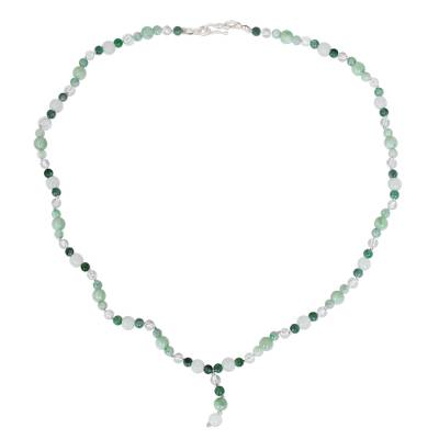 Handcrafted Beaded Jade and Quartz Necklace