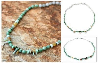 Jade beaded necklace, 'Love Eternal' - Handcrafted Thai Beaded Jade Necklace