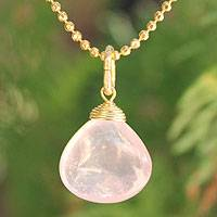 Gold vermeil rose quartz pendant necklace, 'A Spell of Romance'