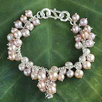 Cultured pearl charm bracelet, 'Pink Moon Rose'