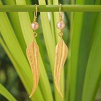 Gold vermeil cultured pearl dangle earrings, 'Free as a Bird' - Handcrafted Vermeil Pearl Dangle Earrings