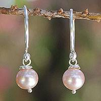 Cultured pearl dangle earrings, 'Ocean Love' - Handmade Bridal Sterling Silver and Pink Pearl Earrings