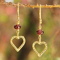 Gold vermeil garnet heart earrings, Kiss Me