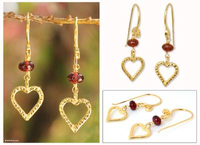 Gold vermeil garnet heart earrings, 'Kiss Me' - Heart Shaped Gold Vermeil Garnet Earrings