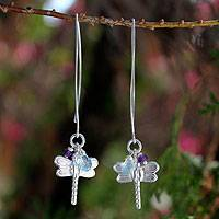 Blue topaz and amethyst dangle earrings, 'Dragonfly Omen'