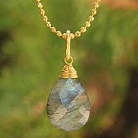 Gold vermeil labradorite pendant necklace, 'A Spell of Intuition'