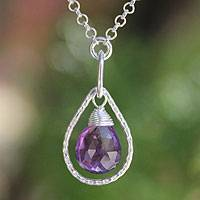 Amethyst pendant necklace, 'Smile' - Amethyst pendant necklace