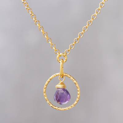 Gold vermeil amethyst pendant necklace, 'Thai Delight' - Handmade Gold Vermeil Amethyst Necklace