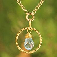 Gold vermeil blue topaz pendant necklace, 'Thai Delight'