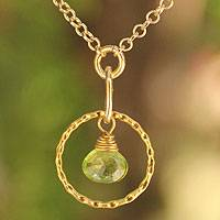 Gold vermeil peridot pendant necklace, 'Thai Delight'