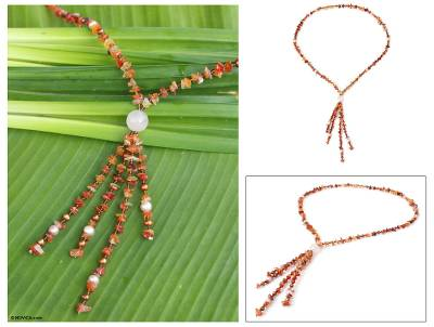 Pearl and carnelian pendant necklace, 'Promise of Fire' - Pearl and carnelian pendant necklace