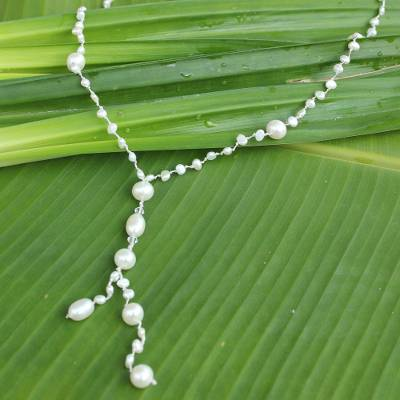 Cultured pearl Y-necklace, 'Nature's Melody' - Cultured pearl Y-necklace