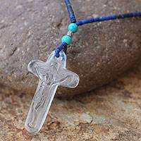 Lapis lazuli and quartz pendant necklace,