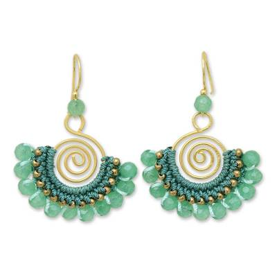 Beaded dangle earrings, 'Kiwi Kiss' - Beaded Dangle Earrings with Quartz