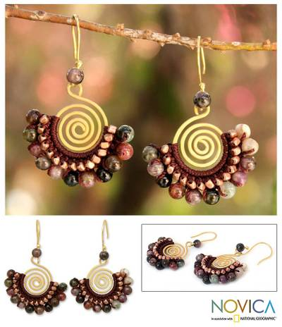 Tourmaline dangle earrings, 'Candy Kiss' - Tourmaline and Brass Bead Dangle Earrings